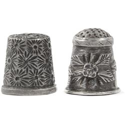 Lot of two Spanish colonial ornate silver thimbles, 1600s.