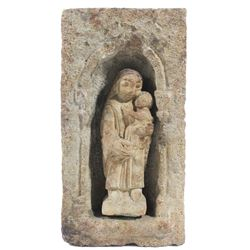 Spanish colonial rustic niche religious shrine with Maria and Jesus, 1700s.