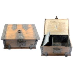 Spanish colonial iron-bound wooden money chest, 1700s.