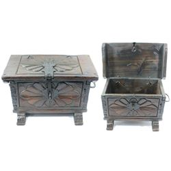 Spanish colonial money chest with carved decorations, 1800s.