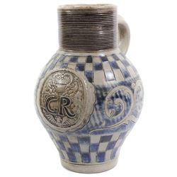 German Westerwald jug with George II marking as from British colonial Virginia, ca. 1740-1760.