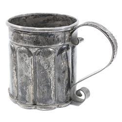 Spanish colonial silver tankard, 1700s-1800s.