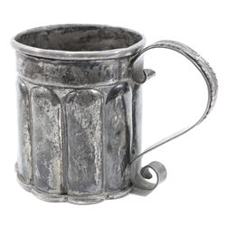 Spanish colonial silver tankard, 1700s-1800s.