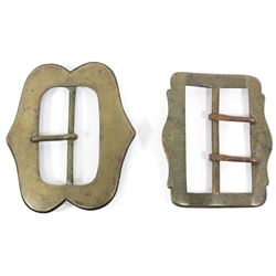 Two early colonial-period European buckles for baldric-type belt (over one shoulder), 1600s-1700s.