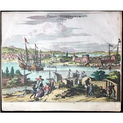 Dutch copperplate-engraved scene of St. Augustine, Florida by Arnoldus Montanus (ca. 1671), hand col