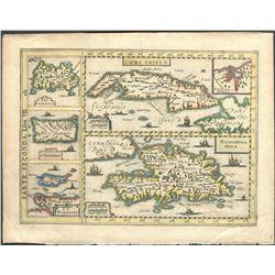 Italian copperplate-engraved map of Cuba, Hispaniola, Jamaica, Puerto Rico, and Margarita by Gregori