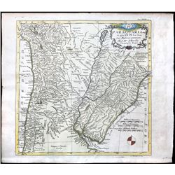 """German woodcut-engraved map, dated 1733, of the Jesuit missions in and around """"Paraquaria"""" (Paraguay"""