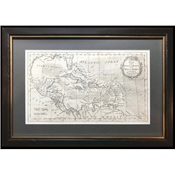Small, British copperplate-engraved map of the West Indies by Thomas Kitchin (ca. 1780) professional