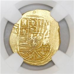 Mexico City, Mexico, cob 2 escudos, Philip V, assayer not visible (oXMJ, style of 1711-13), NGC MS 6