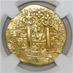 Lima, Peru, cob 8 escudos, Louis I, 1725M, NGC XF details / removed from jewelry.
