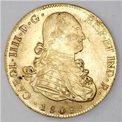 Potosi, Bolivia, cob 8 escudos, Charles IV, 1808PJ.