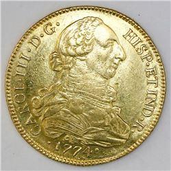 Santiago, Chile, bust 8 escudos, Charles III, 1774DA.