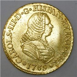 Popayan, Colombia, bust 4 escudos, Charles III (bust of Ferdinand VI), 1769J.