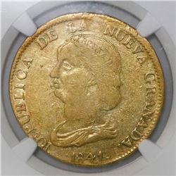 Popayan, Colombia, 16 pesos, 1841RU, rare, NGC VF 20.