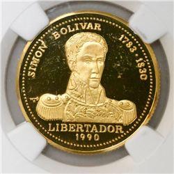 Cuba, proof 50 pesos, 1990, Simon Bolivar, NGC PF 67 Ultra Cameo.