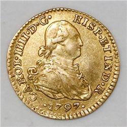 Mexico City, Mexico, bust 1 escudo, Charles IV, 1797FM.