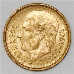 Mexico City, Mexico, 2-1/2 pesos, 1945.