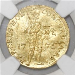 Holland, United Netherlands, ducat, 1776, NGC AU details / damaged.