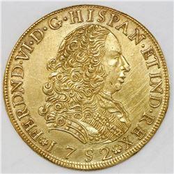 Lima, Peru, bust 8 escudos, Ferdinand VI, 1752J.