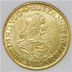 Lima, Peru, bust 8 escudos, Ferdinand VI, 1754JD.