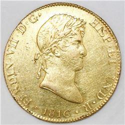 Lima, Peru, bust 8 escudos, Ferdinand VII, 1816JP, ex-Bir.