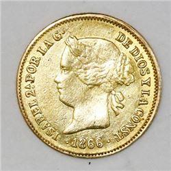 Philippines (under Spain), 1 peso, Isabel II, 1866.
