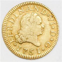 Madrid, Spain, bust 1/2 escudo, Ferdinand VI, 1751JB.