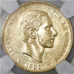 Madrid, Spain, 25 pesetas, Alfonso XII, 1881MS-M, with 18-81 inside six-point stars, NGC AU 58.