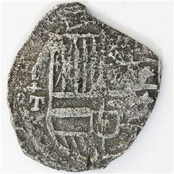 Potosi, Bolivia, cob 8 reales, Philip III, assayer T, upper half of shield transposed, Grade 3, cert