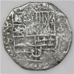Potosi, Bolivia, cob 8 reales, Philip IV, assayer P (mid-1620s).