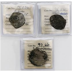 Lot of three Potosi, Bolivia, cobs (one 4R and two 2R), Philip IV, assayer TR or not visible.