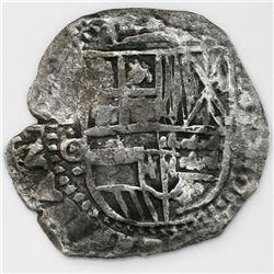 Potosi, Bolivia, cob 8 reales, 1650O, with crowned-L countermark on cross.