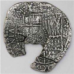 Potosi, Bolivia, cob 4 reales, 16(51-2)E, with crowned-o countermark on shield.