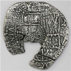 Potosi, Bolivia, cob 4 reales, 16(51-2)E, with crowned-o countermark on shield.