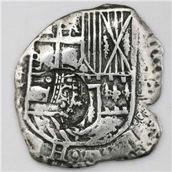 Potosi, Bolivia, cob 4 reales, (1651-2)E, with crowned-dot-F-dot countermark on shield.