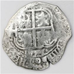 Potosi, Bolivia, cob 8 reales, 1654E, dot-PH-dot at top.
