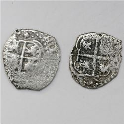 Lot of two Potosi, Bolivia, cob 1R, 1652E (post-transitional) and 1653E.