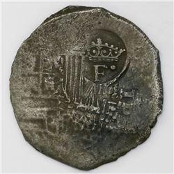 Potosi, Bolivia, cob 8 reales, (165)1E, with crowned-dot-F-dot countermark on shield.