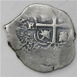 Potosi, Bolivia, cob 1 real, 1668E, assayer to left of cross (rare).
