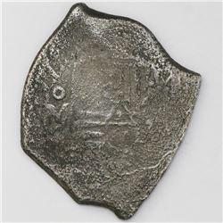 Mexico City, Mexico, cob 8 reales, (16)77(G), rare.