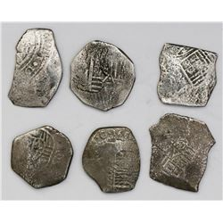Lot of six Mexico City, Mexico, cob 4 reales, Philip IV and Charles II, assayers not visible.