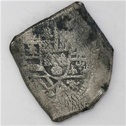 Mexico City, Mexico, cob 8 reales, Philip V, assayer not visible, with green encrustation on cross.
