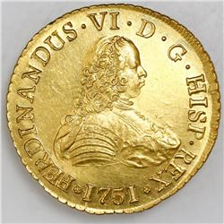 Santiago, Chile, gold bust 8 escudos, Ferdinand VI, 1751J, PCGS MS61, ex-Luz (stated on label).