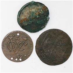 Lot of four copper coins: One Dutch East India Company (Zeeland province) duit 1752 with four contem