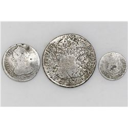 Lot of three coins: Mexico bust 8R 1783FF; Lima bust 2R 1777MJ; and Mexico pillar 1R 1769M.