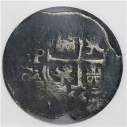 Potosi, Bolivia, cob 2 reales, 1666E, NGC Genuine / Piedmont.
