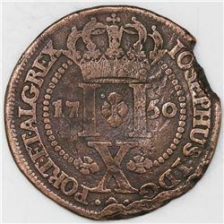 Azores, copper 10 reis, 1750.