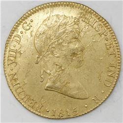 Lima, Peru, gold bust 8 escudos, Ferdinand VII, 1815JP, rare provenance.
