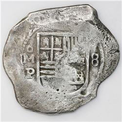 Mexico City, Mexico, cob 8 reales, Philip IV, assayer P (ca. 1650s).