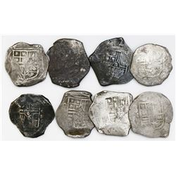 Lot of eight Mexico City, Mexico, cob 8 reales, Philip IV, assayer P (where visible), most with smal